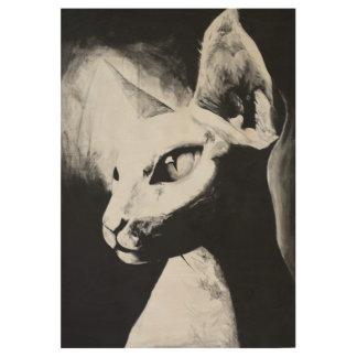 Sphynx Cat Black White Contrast Hairless Kitty Art Wood Poster