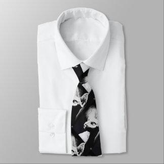 Sphynx Cat Black White Contrast Kitty Portrait Art Tie
