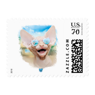 Sphynx cat breed. In sunglasses. Postage
