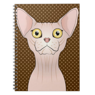 Sphynx Cat Cartoon Paws Spiral Notebook