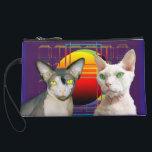 """Sphynx Cat Devon Rex Cat Retro Purple Suede Wristlet Wallet<br><div class=""""desc"""">Crazy Cats Design by Rex Cats Sphynx cat Ninja and Devon Rex Casper on Retro Purple.</div>"""