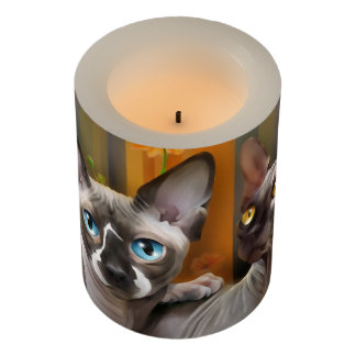 Sphynx cat flameless candle