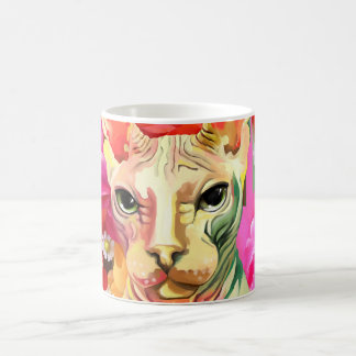 Sphynx Cat in flowers. Coffee Mug