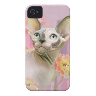 Sphynx Cat in flowers. iPhone 4 Cover