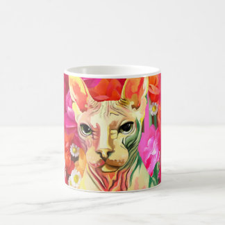 Sphynx Cat in flowers. Magic Mug