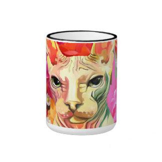Sphynx Cat in flowers. Ringer Mug