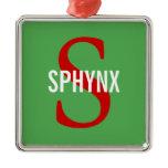 Sphynx Cat Monogram Design Metal Ornament