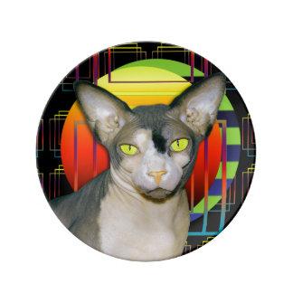 Sphynx Cat Ninja Crazy Cat Design Black Geometric Dinner Plate