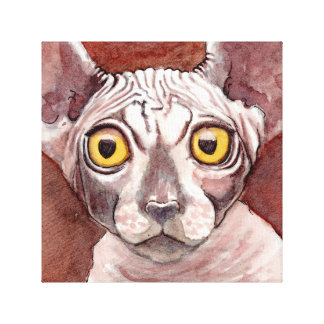 Sphynx Cat Watercolor Painting Canvas Print