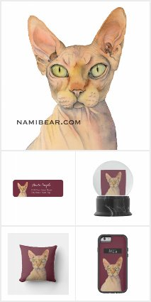 Sphynx Cat Watercolor Portrait