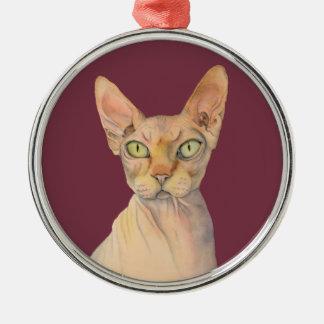 Sphynx Cat Watercolor Portrait Metal Ornament