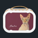 """Sphynx Cat Watercolor Portrait with Name Lunch Box<br><div class=""""desc"""">This is a watercolor painting of a Sphynx Cat with green-ish yellow eyes. It was painted on a hot pressed Arches paper</div>"""