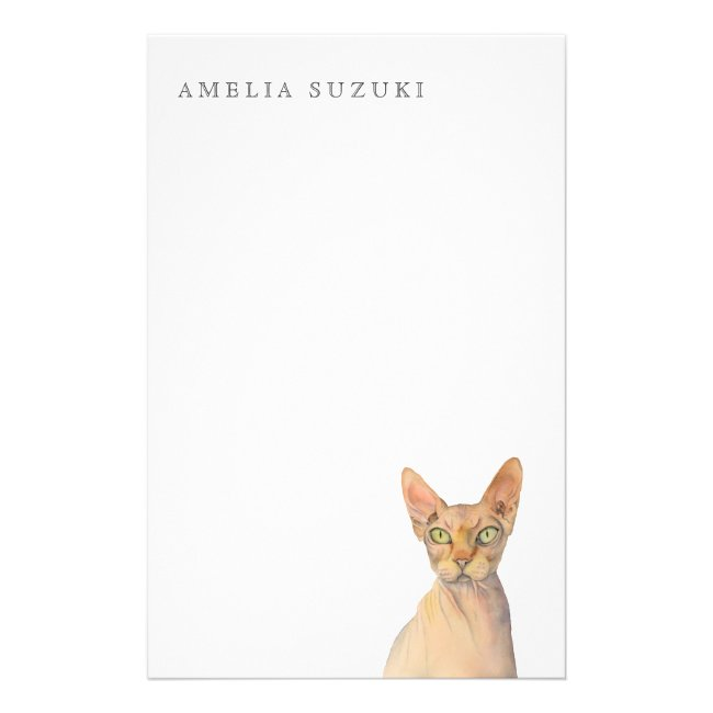 Sphynx Cat Watercolor Portrait with Name