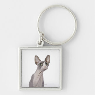 Sphynx Cat with surprised expression Silver-Colored Square Keychain