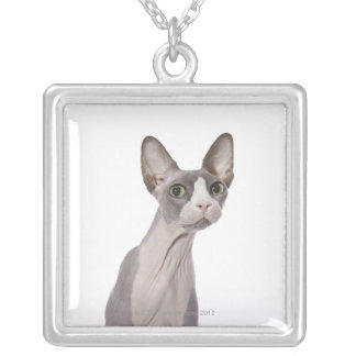 Sphynx Cat with surprised expression Square Pendant Necklace