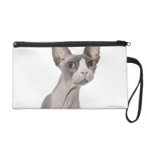 Sphynx Cat with surprised expression Wristlet Purse
