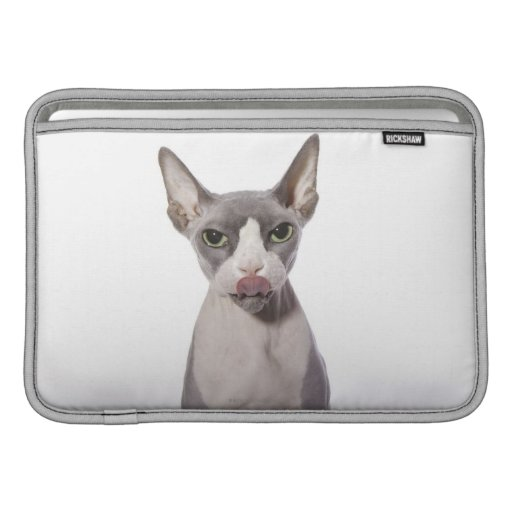 Sphynx Cat with tongue out MacBook Air Sleeves