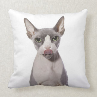 Sphynx Cat with tongue out Pillows