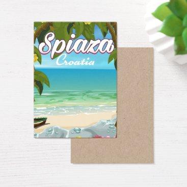 Beach Themed Spiaza Croatia beach vacation poster Business Card