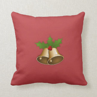 """Spice Drops & Snowflakes 2"" Grn/Red Bells Pillow"