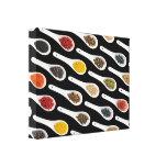 Spice Spoons on Black, kitchen dining room art Canvas Print