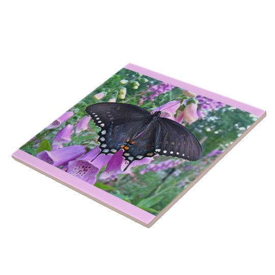Spicebush Butterfly on Foxgloves Ceramic Tile