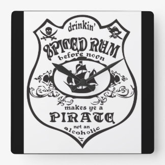 Spiced Rum Pirate Square Wallclocks