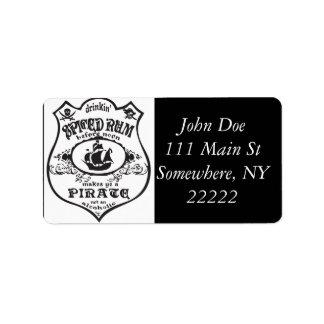 Spiced Rum Pirate Address Label