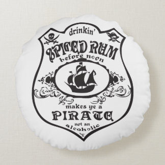 Spiced Rum Pirate Round Pillow