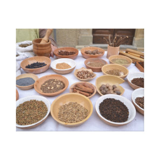 Spices on a market in Italy - canvas printing