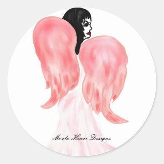 Spicy Angel Button Classic Round Sticker