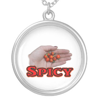 Spicy Cascabel Hot Pepper Design Silver Plated Necklace