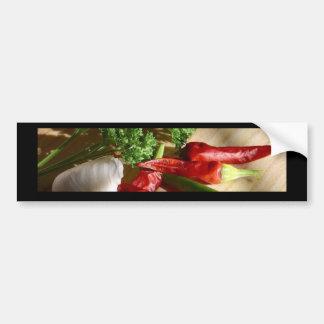 Spicy cuisine art bumper sticker