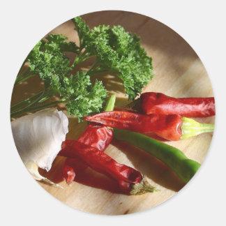 Spicy cuisine art classic round sticker