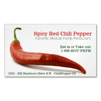Spicy Food Hot Red Cayenne Pepper Restaurant Business Card Magnet