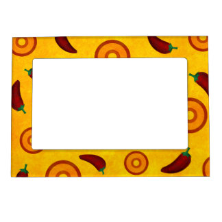 Spicy Hot Southwest Chili Pepper Collage Magnetic Picture Frame