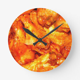 Spicy Hot Wings Round Wallclock
