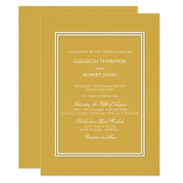 Beach Themed Spicy Mustard with White Wedding Detail Card