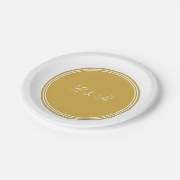 Beach Themed Spicy Mustard with White Wedding Detail Paper Plate