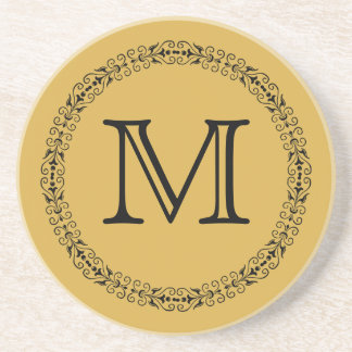 Spicy Mustard Yellow Gold Solid Color Monogram Drink Coaster