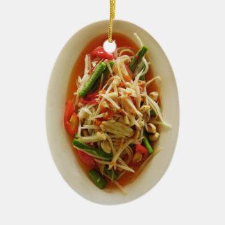 Spicy Papaya Salad [Som Tam] ... Thai Lao Food Ceramic Ornament