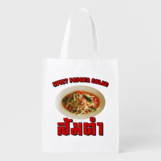 Spicy Papaya Salad [Som Tam] ... Thai Lao Food Reusable Grocery Bag
