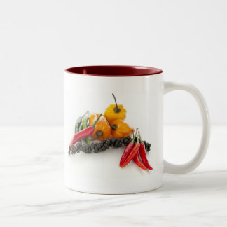 Spicy Peppers on White Mug