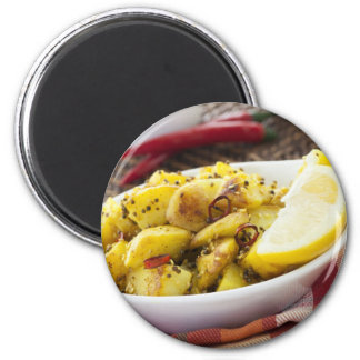 Spicy Potatoes 2 Inch Round Magnet