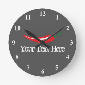 Spicy red hot chili pepper kitchen clock