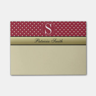 Spicy Red & White Polka Dots Custom Name Monogram Post-it Notes