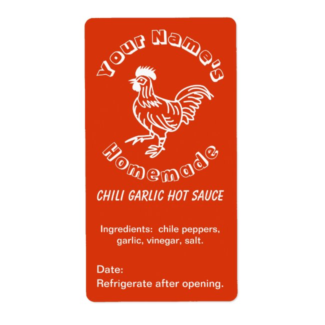 Spicy Rooster Custom Hot Sauce Labels Chili Garlic