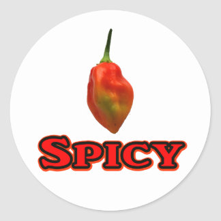Spicy Single Habanero Hot Pepper Design Classic Round Sticker