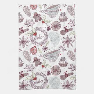 Spicy Winter Theme Pattern Kitchen Towel