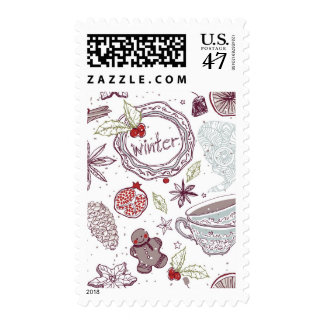 Spicy Winter Theme Pattern Postage
